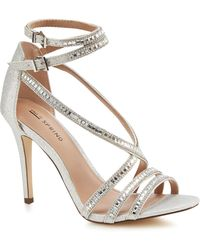 241b278e2df9b Call It Spring - Silver Glitter 'gaffigan' High Stiletto Heel Ankle Strap  Sandals -