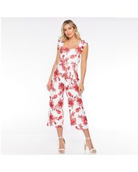 Quiz - White And Red Floral Culotte Jumpsuit - Lyst