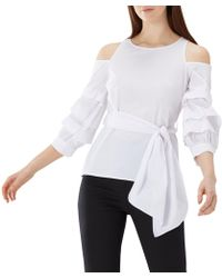 Coast - Ivory White 'jude' Ruched Sleeve Cotton Top - Lyst