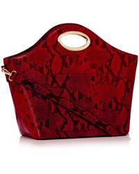 Faith - Red Faux Leather Snake Effect Curve Metal Handle Shopper - Lyst