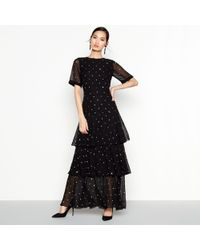 Début - Black Embellished Tiered Maxi Dress - Lyst