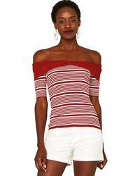 Oasis - Multicoloured Stripe Bow Bardot Top - Lyst