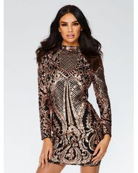 Quiz - Black And Rose Gold Sequin Bodycon Dress - Lyst