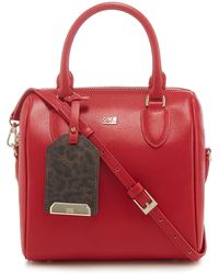 Class Roberto Cavalli - Red 'leo' Small Bowler Bag - Lyst