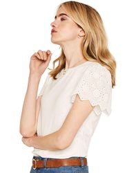 Oasis - White Broderie Sleeve T-shirt - Lyst