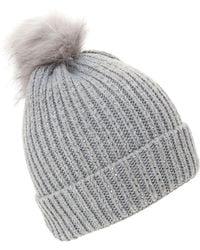 Dune - Grey 'francine' Embellished Knitted Hat - Lyst