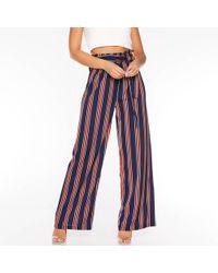 Quiz - Navy Orange And Cream Stripe Palazzo Trousers - Lyst