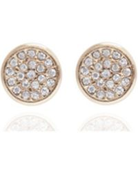 Anne Klein - Gold Pave Stud Earring - Lyst