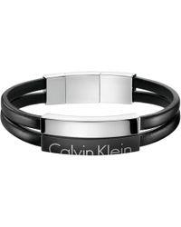 Calvin Klein - Black 'boost' Leather Strap Bracelet - Lyst