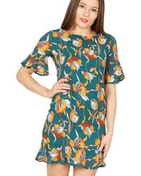 Tenki - Green Floral Ruffled Shift Dress - Lyst
