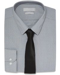 Red Herring - Grey Fine Striped Textured Slim Fit Shirt And Black Tie Set - Lyst