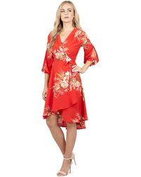 Izabel London - Multicoloured Long Sleeve Wrap Printed Dress - Lyst