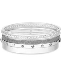 Red Herring - Silver Plated Clear Multipack Bangle Bracelet - Lyst