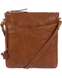 Conkca London - Conker Brown & Dark Tan 'avril' Handcrafted Leather Cross-body Bag - Lyst