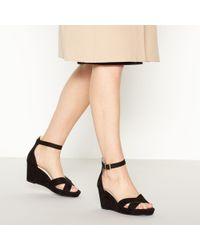 Faith - Black Wust High Wedge Heel Wide Fit Sandals - Lyst