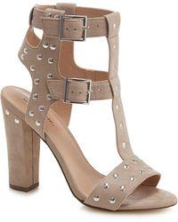 dde4093392c7 Call It Spring - Taupe Suedette  aferiwien  High Block Heel T-bar Sandals