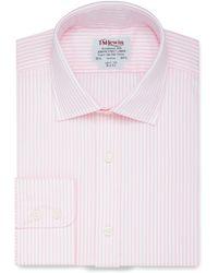 Tm Lewin - Slim Fit Light Pink Stripe Poplin Regular Sleeve Length Shirt - Lyst