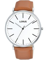 Lorus - Gents Large White Dial 3h Camel Leather Strap Dress Watch - Lyst