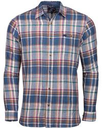 Raging Bull - Navy Long Sleeve Large Check Shirt - Lyst