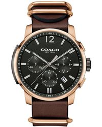 COACH - Men's Brown 'bleecker' Chronograph Leather Strap Watch 14602019 - Lyst