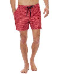 Tommy Hilfiger - Red Geometric Print Swim Shorts - Lyst