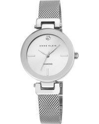 Anne Klein - Womens Silver Tone Mesh Watch With A Diamond Ak/n2473svsv - Lyst