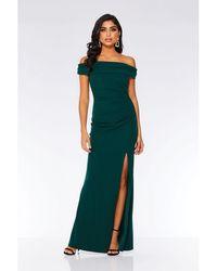 Quiz - Bottle Green Bardot Ruched Fishtail Maxi Dress - Lyst