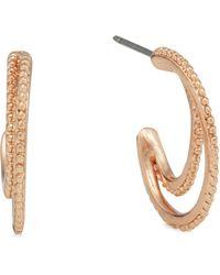 Pilgrim - Rose Gold-plated Double Hoop Earrings - Lyst