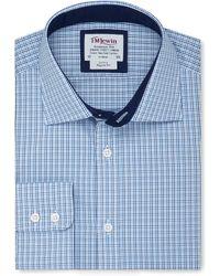 Tm Lewin - Regular Fit Blue Navy Multi Check Short Sleeve Length Shirt - Lyst