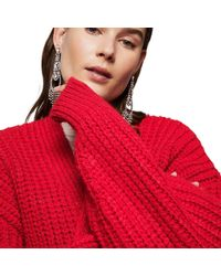 Mango - Red 'prince' Chunky Knit Cardigan - Lyst