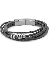 Fossil - Gents Black Multi Wrap Bracelet - Lyst
