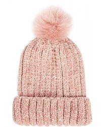 Quiz - Pink Chenille Knit Pom Hat - Lyst