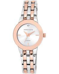 Anne Klein - Ladies Rose And Silver Diamond Bracelet Watch Ak/n1931svrt - Lyst