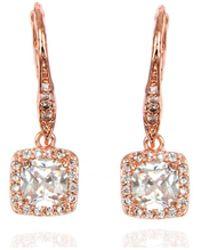 Anne Klein - Rose Gold Crystal Chandelier Drop Earrings - Lyst