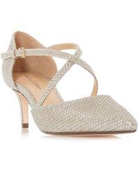 Roland Cartier - Gold Patent 'doffy' Kitten Heel Court Shoes - Lyst
