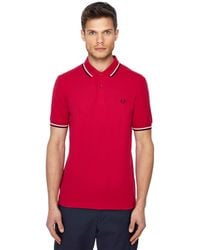Fred Perry - Pink Tipped Collar Polo Shirt - Lyst
