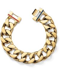 Tommy Hilfiger - Ladies Stainless Steel Gold Ip Chunk Chain Bracelet2700702 - Lyst
