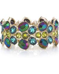 Red Herring - Metallic Green Crystal Stretch Bracelet - Lyst