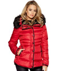 Quiz - Red And Black Padded Faux Fur Collar Jacket - Lyst