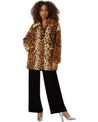 James Lakeland - Brown Leopard Faux Fur Coat - Lyst