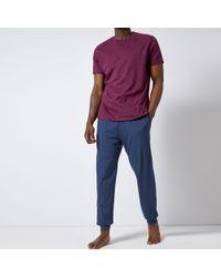 Burton - Burgundy And Navy Printed Pyjama Set - Lyst