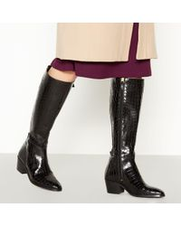 90f646264bc J By Jasper Conran - Black Croc Effect Leather  jellie  Knee High Boots -