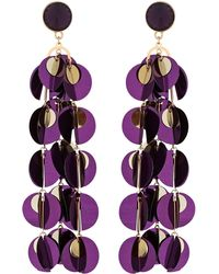 Red Herring - Purple Sequin Drop Statement Earrings - Lyst