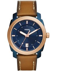 Fossil - Brown Men's Machine Three-hand Date Brown Leather Watch - Lyst