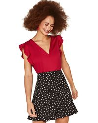 Oasis - Mid Red Work Top - Lyst