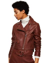 Mango - Brown Leather 'bag' Biker Jacket - Lyst