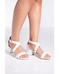 5e96c0f5a Quiz Black Glitter Block Heel Sandals in Black - Lyst