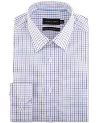 Double Two - Big And Tall Purple Multi Check Formal Shirt - Lyst