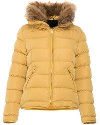 Quiz - Mustard Padded Faux Fur Trim Jacket - Lyst