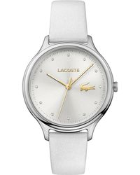 Lacoste - Women's Constance White Pearlized Leather Strap Watch 38mm - Lyst